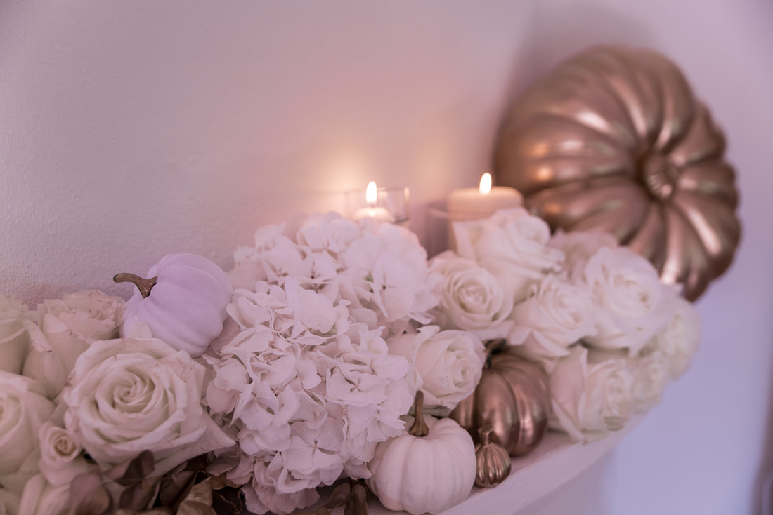 DIY white and gold Halloween flower garland, By The Belle Blog