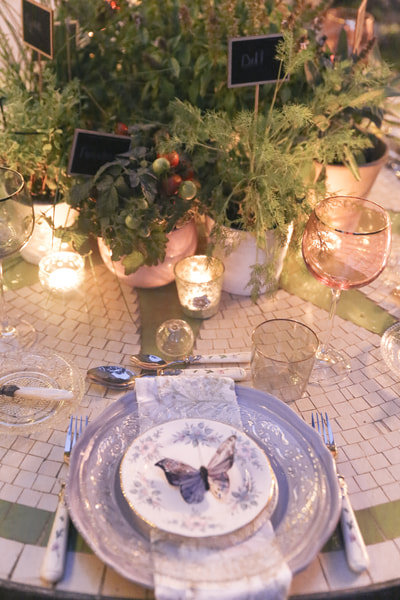 Al fresco dinner in the herb garden by The Belle Bog