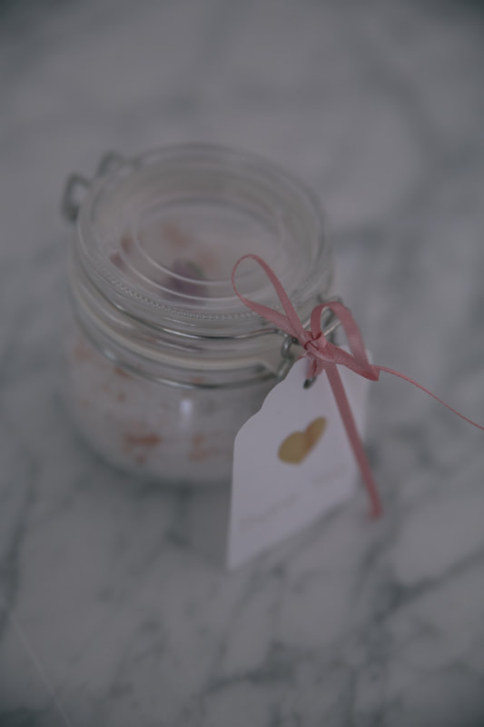 Recipe for DIY lavender and rose petal bath salts by The Belle Blog